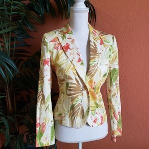 Judith Hart Tropical Floral Print Blazer Yellow 8P